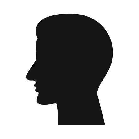 Human head profile icon. People face silhouette, unknown person sign, anonymous pictogram, black and white face avatar