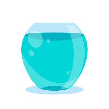 Fish bowl, aquarium cartoon vector illustration. Blue fish tank flat icon isolated on white background
