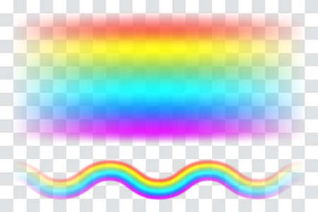 Realistic spectrum rainbow on transparent background. Rain bow arch vector illustration, multicolor unicorn rainbow with mesh brushes included Stock Illustratie