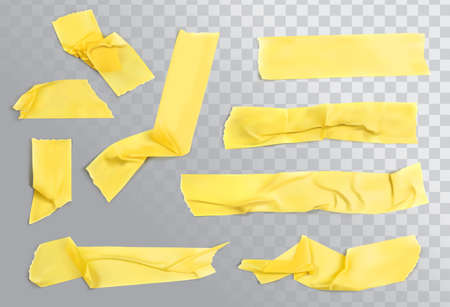 Yellow sticky tape isolated on white background. Torn strip paper, adhesive pieces vector illustration