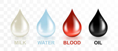 Milk, water, oil, blood drops set vector illustration. Red, blue, black, white drop collection Stockfoto