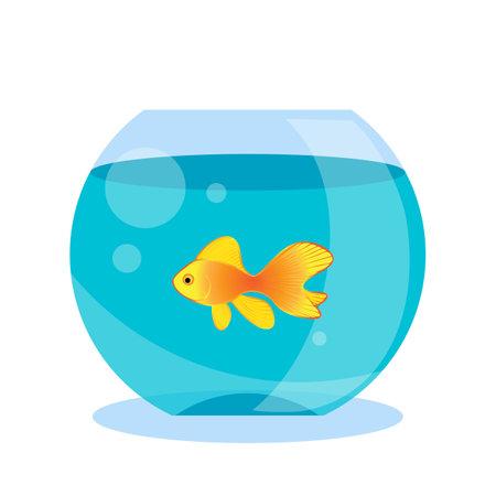 Round fish bowl, aquarium with goldfish cartoon vector illustration. Blue fish tank isolated on white background