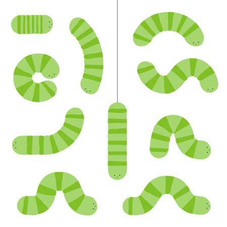 Various cartoon caterpillars. Green larva set, caterpillar collection, cute doodle insect vector illustration