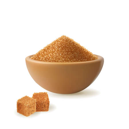 Brown sugar in wooden bowl vector illustration. Raw unrefined organic cane sugar pile and cubes side view