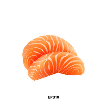 Slices of Raw Salmon Fillet Isolated on White Background Top View. Thick Pieces of Fresh Red Fish or Trout Sashimi Vector Illustration