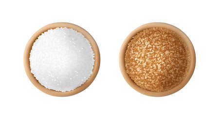 White and brown sugar in wooden bowls. Raw unrefined organic cane sugar piles top view vector illustration