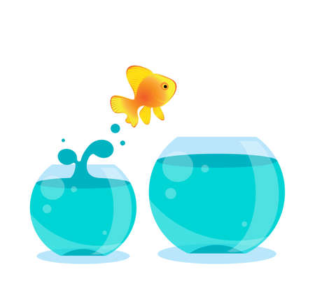 Fish jumping out of bowl. Opportunity, challenge and chance cartoon vector illustration, success concept Stock Illustratie