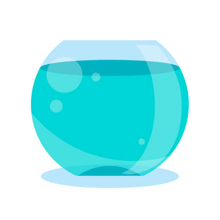 Round fish bowl, aquarium cartoon vector illustration. Blue fish tank flat icon isolated on white background