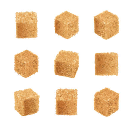 Raw brown sugar cubes vector illustration. Unrefined cane sugar cube collection, realistic sugarcane, sweetener isolated on white background
