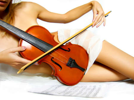 graceful woman body with violin Stock Photo