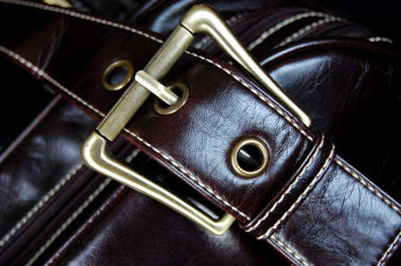 Buckle of a female brown leather bag