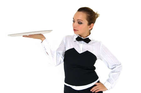 cafeteria tray: Waitress in uniform and necktie holding empty tray on white Stock Photo