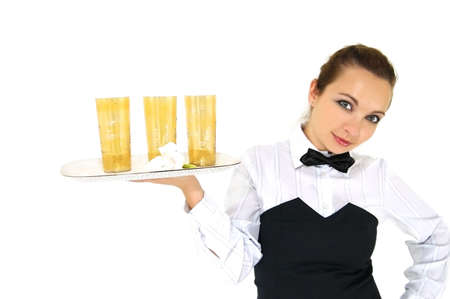 Waitress in uniform and necktie holding tray whith glasses