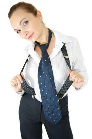 suspenders: Girl in male costume, tie and suspenders
