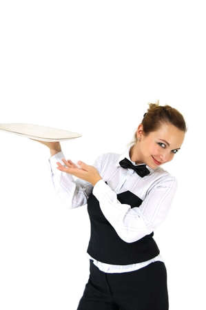 Waitress in uniform and necktie holding tray isolated on white Stock Photo