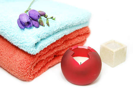 towel and candles, spa relaxation Stock Photo - 2565292