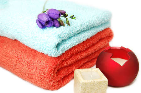 Towels and candles, spa relaxation Stock Photo - 2590106
