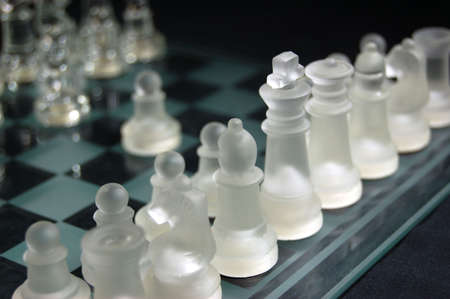 Set of glass chess, ready to play photo