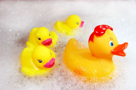 spume:  of yellow rubber ducks in spume