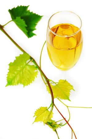 muscat glass of wine with leaves on white