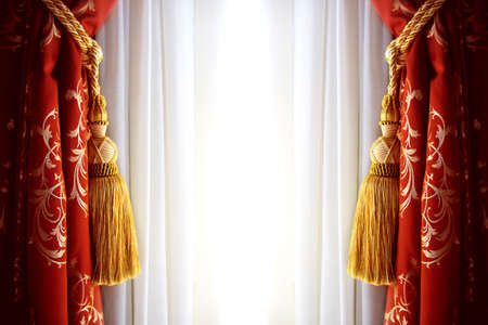 Red luxury curtain with a copy space in the middle photo