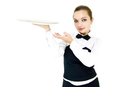 Waitress in uniform and necktie holding tray isolated on white photo
