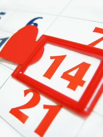 fourteen marked in calendar with red heart Stock Photo - 4270909