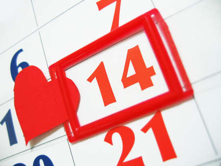 fourteen marked in calender with red heart Stock Photo - 4270911