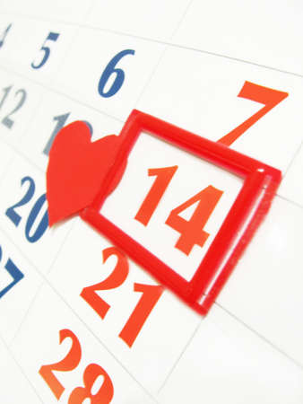 fourteen marked in calendar with red heart Stock Photo - 4270912
