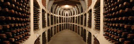 cave: du vieux vin dans des bouteilles portant racks en cave