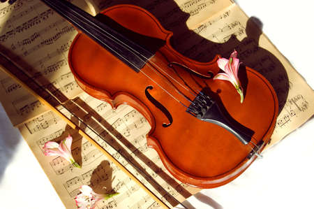 Old violin, fiddle-stick and music sheet over white