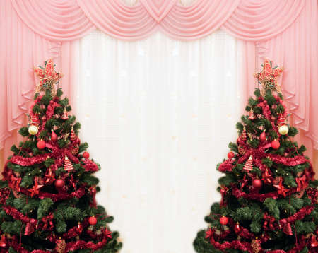 Two Christmas tree and curtains as frame Stock Photo - 4944149