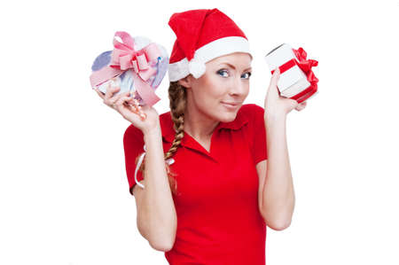 Santa helper with many gifts over white Stock Photo - 5567583