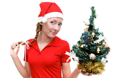 Santa helper with Christmas tree over white Stock Photo - 5567582