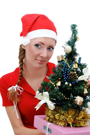 Santa helper with Christmas tree and gifts over white Stock Photo - 5594235