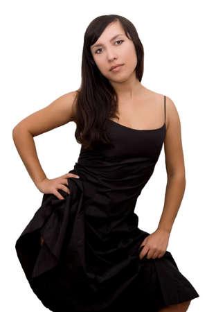Beautiful brunette in black dress over white photo