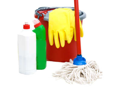 Cleaning tools with bucket, mops over white