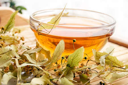 Cup of tea from dry lime-tree flowers Stock Photo - 6168855
