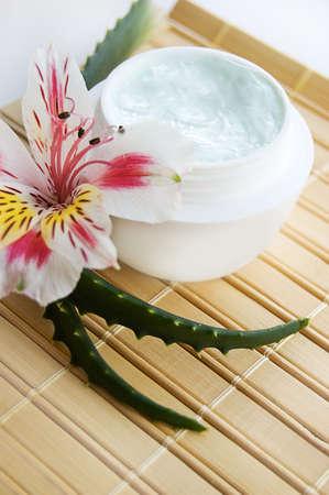 Jar of aloe cream and fresh aloe vera leaves Stock Photo - 6460506