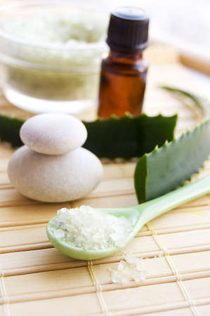 Jar of aloe bath salt and fresh aloe vera leaves Stock Photo - 6524756