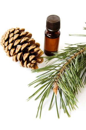 Bottle of fir tree oil over white Stock Photo - 6853470