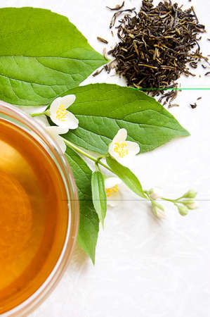 Cup of green tea with jasmine Stock Photo - 7089116