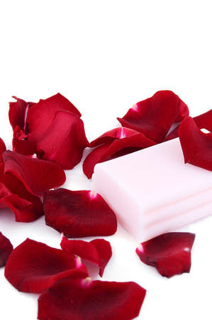 Pink soap with rose petals on white Stock Photo - 7967377