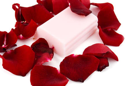 Pink soap with rose petals on white Stock Photo - 7967378
