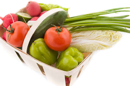 wattled: Wattled basket with vegetable over white