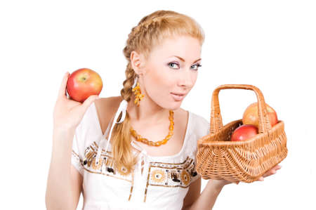 Redheaded woman with red apples over white photo