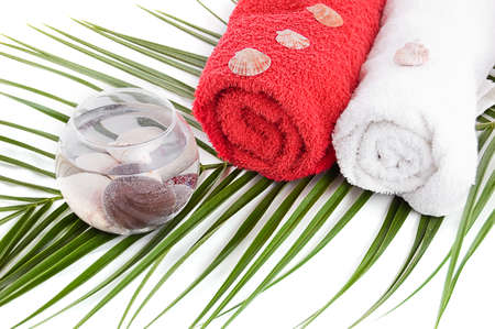 Bath towels and spa products with palm branch Stock Photo - 9765380