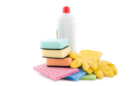 Cleaning and sanitation products isolated over white Stock Photo - 9765383
