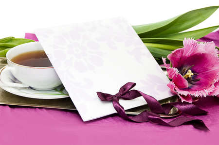 Greeting card with violet tulips and ribbon Stock Photo - 9861485