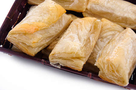 Puff pastry with potato and cabbage on plate photo